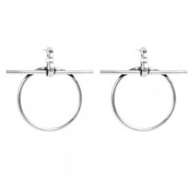 Boucles d'oreilles Créoles RING métal - Anneaux ronds & Barre transversale CXC