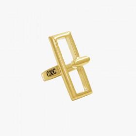 Bague Large DOOR dorée - Boucle poignet rectangulaire design CXC