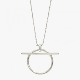 Collier court RING métal - Chaîne boules & Pendentif anneau barrette CXC