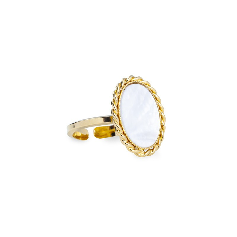Bague ajustable OVALYS Or - Médaillon antique & Nacre ovale Lovely day