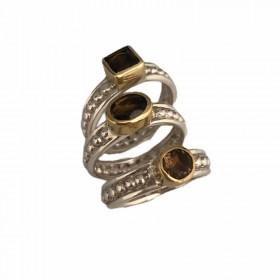 Trilogie d'anneaux aux trois quartz fumé Canyon