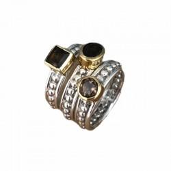 Bague large TRILOGIE argent doré - Trois anneaux & Trois Quartz fumés CANYON
