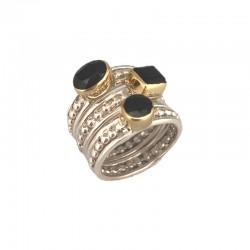 Bague large TRILOGIE argent doré - Trois anneaux & Trois Onyx noirs CANYON