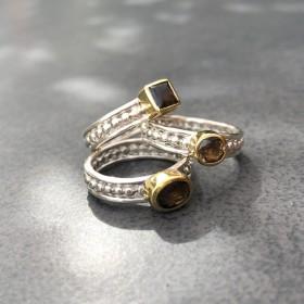 BAGUES CANYON Bague large TRILOGIE argent doré - Trois anneaux & Trois Quartz fumés