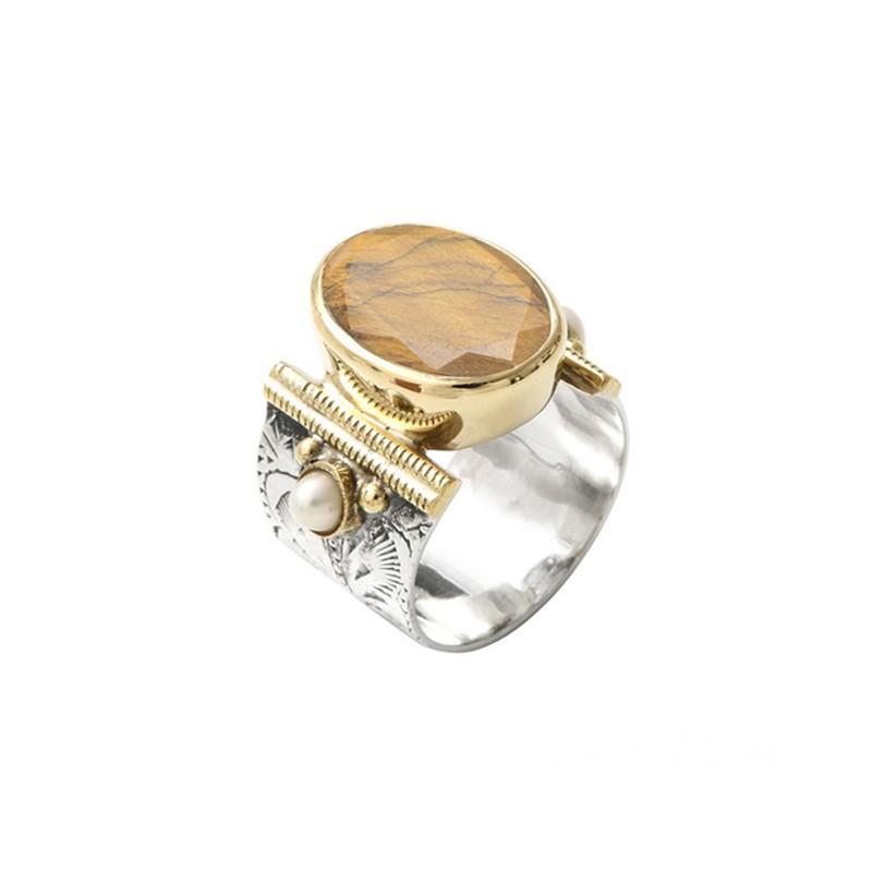 Bague large ethnique argent doré - Oeil de Tigre & Perles blanches CANYON BIJOUX