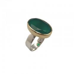 Bague large argent doré & Pierre Onyx vert ovale CANYON