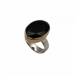 Bague argent doré & Pierre Onyx noir ovale CANYON BIJOUX
