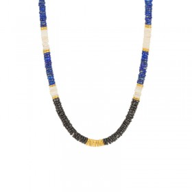 Collier court CUZCO - Disques Lapis Lazuli & Onyx noirs signé Une à Une