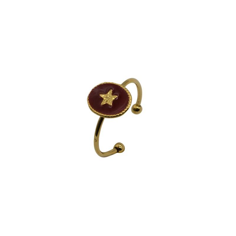 Bague fine ajustable Rachel - Médaillon bordeaux & Etoile dorée By Garance