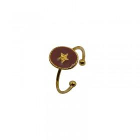 Bague fine ajustable Rachel - Médaillon taupe & Etoile dorée By Garance