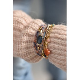 Bracelet multi-rangs Lana - Tissu sur cordon & Pierre Cyanite bleu ovale signé BY GARANCE