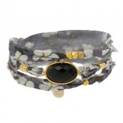 Bracelet multi-rangs Lana - Tissu liberty gris & Onyx noir ovale BY GARANCE