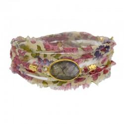 Bracelet multi-rangs Lana - Tissu liberty rose & Labradorite ovale BY GARANCE