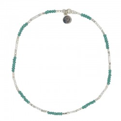 Chevillère élastique en argent & Perles de verre vertes DORIANE BIJOUX