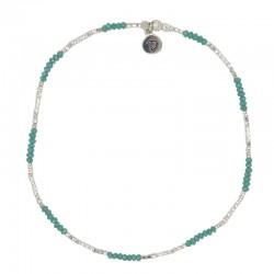 Bracelet de Chevilles élastiqué Argent - Perles argent & Pierres vertes Doriane Bijoux
