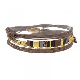 Bracelet multi-tours Carry cordon taupe - Chaînette dorée & Perles plates BY GARANCE