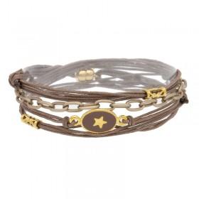 Bracelet multi-rangs SABINA taupe - Chaînette & Médaillon taupe étoile dorée
