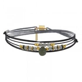 Bracelet multi-tours doré CLAUDIA aimanté - Cordons bleu marine & Labradorites grises BY GARANCE