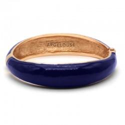 Bracelet Jonc AMOK laiton doré - Jonc lisse bombé émaillé bleu ARGELOUSE