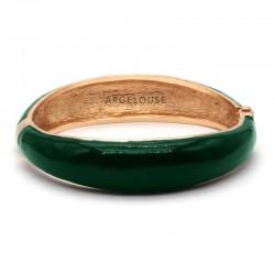 Bracelet Jonc AMOK laiton doré - Jonc lisse bombé émaillé vert ARGELOUSE
