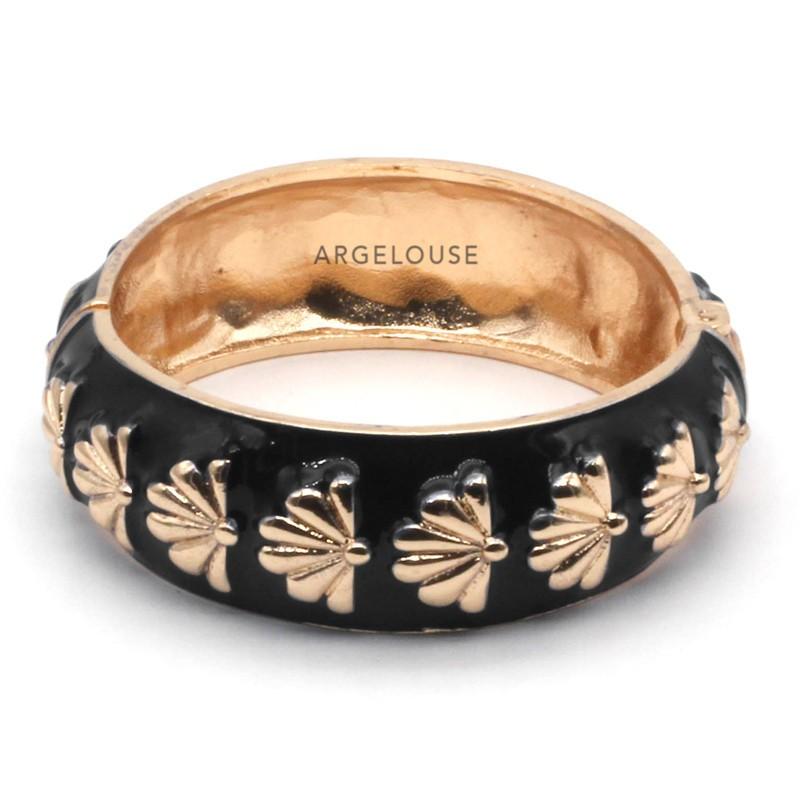 Bracelet Jonc Large Amok Doré émaillé Noir & Eventails dorés ARGELOUSE