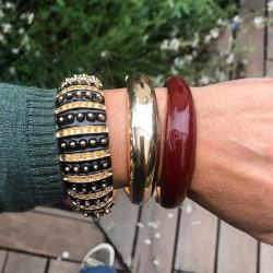 Bracelet Jonc AMOK UNI doré - Email Rouge