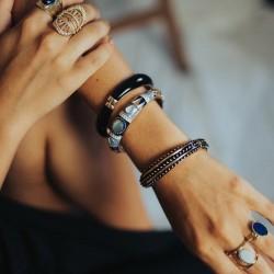 Bracelet Jonc AMOK UNI doré - Email bleu
