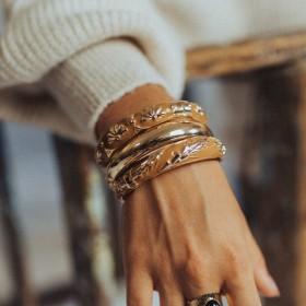 Bracelets Amoks épis et éventails - Amok uni gold - Argelouse