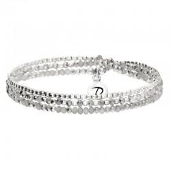 Bracelet triple tours élastiqué Heaven Argent & Hématites grises DORIANE Bijoux