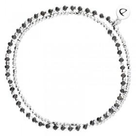 Bracelet multi tours élastiqué Imagine & Hématites noires DORIANE Bijoux