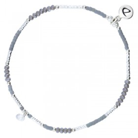 Bracelet fin élastiqué Cute argent - Perles de verre grises & Zircon DORIANE Bijoux