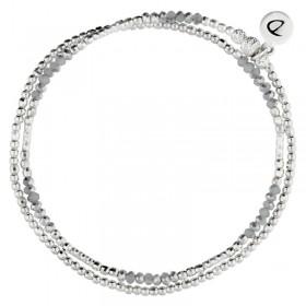 Bracelet multi-tours élastiqué DOUBLE BIRDY argent & Perles hématites grises DORIANE Bijoux