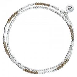 Bracelet multi-tours élastiqué DOUBLE BIRDY argent & Perles marrons claires DORIANE Bijoux