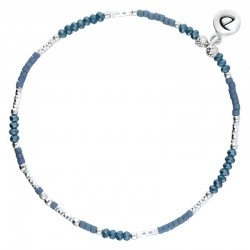 Bracelet fin élastiqué Bright Blue argent & Miyuki bleues DORIANE Bijoux