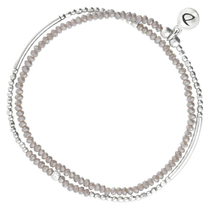 Bracelet multi-tours élastiqué Flirting argent & Perles de verre grises DORIANE Bijoux