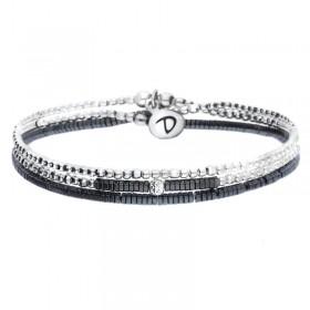 Bracelet multi-tours élastiqué Flirting argent & Hématites noires DORIANE Bijoux
