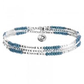 Bracelet multi-tours élastiqué Triple argent & Perles de verre bleues DORIANE Bijoux