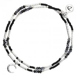 Bracelet multi-tours élastiqué argent - Perles miyuki noires & Croissant DORIANE Bijoux