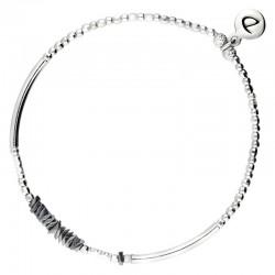 Bracelet fin élastiqué Silver argent - Tubes & Chips hématites grises DORIANE Bijoux