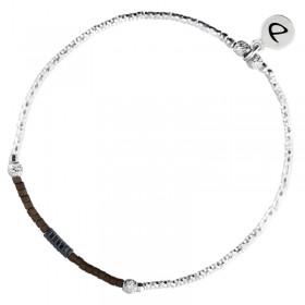 Bracelet fin élastiqué Shinny argent - Hématites grises & Miyuki chocolat DORIANE Bijoux