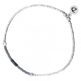 Bracelet fin élastiqué Shinny argent - Hématites grises & Miyuki grises DORIANE Bijoux