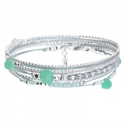 Bracelet multi-tours cordons gris Virtuose - Perles argent & Chrysoprases - DORIANE BIJOUX