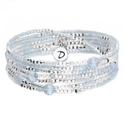Bracelet 7 rangs élastiqué argent LOLLILOP gris & Perles goutte de cristal  DORIANE Bijoux
