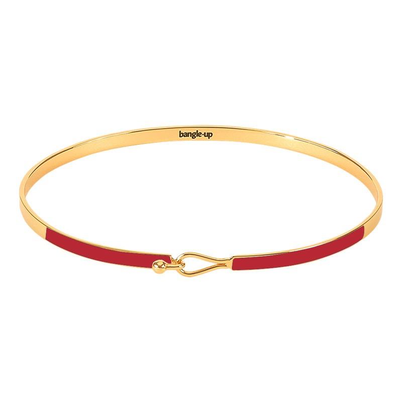 Bracelet Jonc fermé fin Lily ROUGE VELOURS doré - Fermoir crochet - BANGLE UP