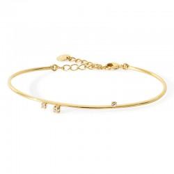 Bracelet Jonc PURE Or - Ajustable & Trois cristaux blancs BDM Studio