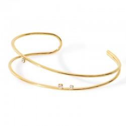 Bracelet Jonc PURE Or - Demi-jonc double & Trois cristaux blancs BDM Studio