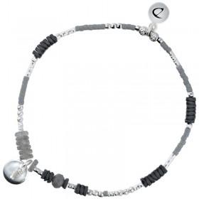 Bracelet fin élastique argent Pastille gris - Hématites & Labradorites  DORIANE Bijoux