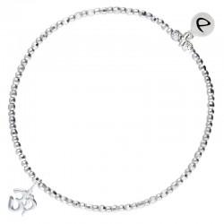 Bracelet élastique argent OM Sanskrite - Perles diamantés & Lettres OM DORIANE Bijoux