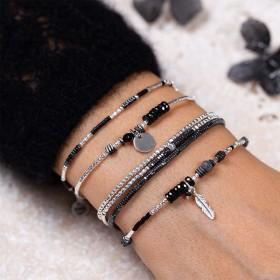 Compo bracelet noir argent signée Doriane Bijoux