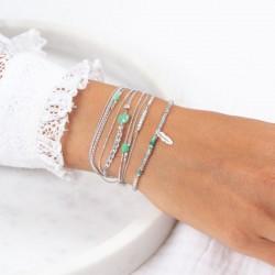 Bracelet multi-tours cordons argent Virtuose - Disques Apatite & Quartz vert